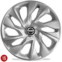 Jogo Calota Aro 15 Nissan Tiida Sentra Versa Livina Silver