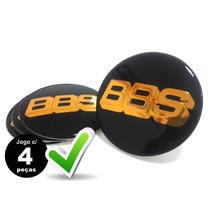 Jg.4 Pçs Emblema Adesivo Para Roda Bbs 65mm Preto C/ Dourado