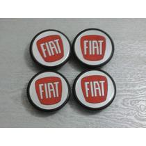 Kit Calotinha Centro Da Roda Preta Fiat Punto Vermelha 48mm