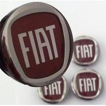 Calotinha Centro De Roda Fiat Logo Vermelho Auto Relevo 48mm
