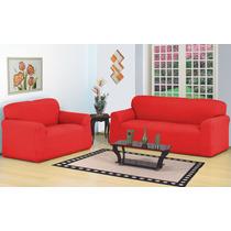 Capa Para Sofa 3 E 2 Lugares Belissima . Strech - Vermelho