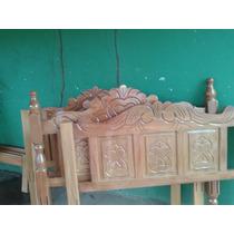 Cama De Guarapeira Com Almofadas Entalhadas Madeira Maçisa A