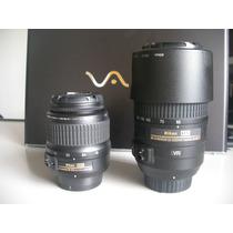 Kit 2 Lentes Câmera Nikon Pro D7100 24.1mp Zoom D7000 D7200