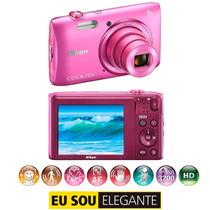 Câmera Digital Nikon Coolpix S3600 Rosa - 20.1mp, 8x