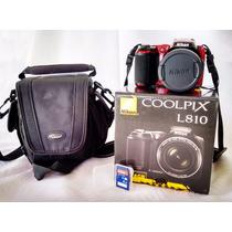 Câmera Nikon Coolpix L810 + Cartão 4gb + Case + Carregador