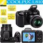 Câmera Digital Nikon Coolpix L810 16.1mp Zoom Óptico 26x