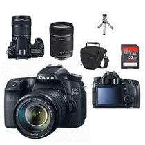 Câmera Canon Eos 70d + 18-135+bolsa+tripé+32gb C/10+kit Limp