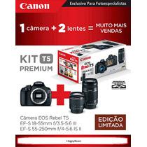Canon Kit T5 Premium 18~55mm + 55~250mm+ 32gb+ Case+ Tripé
