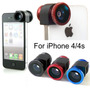 Kit Lentes P/ Iphone 4 . Kit 3 Em 1:fisheye,macro E Wide