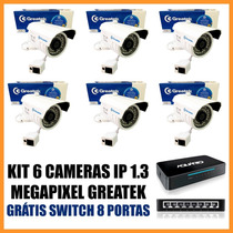Kit 6 Câmeras Ip Greatek 1.3 Megapixel + 1 Switch 8 Portas