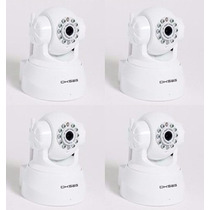 Kit 04 Camera Ip Wireless Visão Noturna Audio Internet P2p