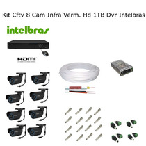 Kit Cftv 8 Cam Infra Verm. Hd 1tb Dvr Intelbras