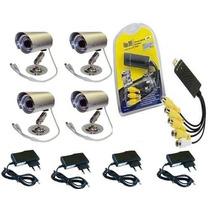 Kit Segurança Cftv Usb Dvr + 4 Camera Infra 36 Led +4 Fontes