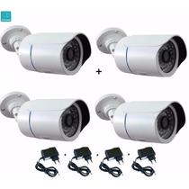 Kit 4 Câmeras Infravermelho 50mt 1500 Linhas Hd Ir Cut E Blc