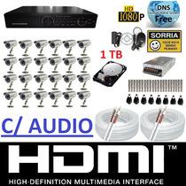 Kit Cftv 24 Cameras Ccd Sony Dvr 32 Canais Plat. Intelbras