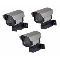 Câmera Cftv Falsa C/ Led 110v/220v- Kit Com 3 Peças + Brinde
