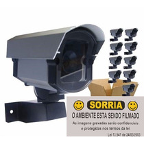 Kit 10 Câmeras Falsa C/ Led Bivolt + 10 Placas Sorria