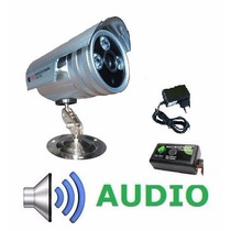 Câmera Ccd Cftv Infravermelho 36leds 1000linhas +audio+fonte