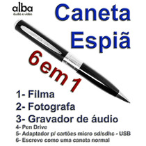 Caneta Espiã, Filma, Fotografa Colorido E Grava Áudio- Prata