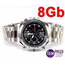 Relógio Espião De Pulso 8gb Espiã Preto/cromado Prova D