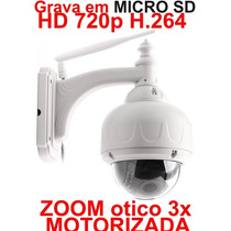 Camera Ip Externa Hd Sem Fio Wifi Zoom 3x Onvif Grava Em Sd