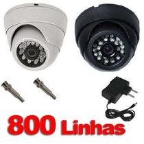 Camera Dome Ccd Infra Vermelho 24 Leds 20mts 800linhas 3,6mm