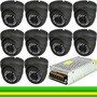 Kit 10 Camers Dome Infra 48 Leds 3,6mm Cftv + Fonte Chaveada