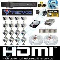 Kit Cftv 16 Cameras Infra Sony Dvr 16 Canais Tecvoz Hd 1tb