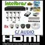 Kit Cftv 8 Cameras Infra Ccd Sony Dvr 8 Canais Intelbras Hd