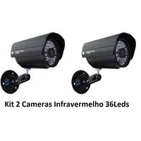 Kit 2 Câmeras Segurança Vídeo Ccd Digital Infra 36 Led Color