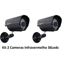 Kit 2 Câmeras Segurança Vídeo Ccd Digital Infra 36 Led Color