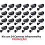 Kit 24 Câmeras Segurança Vídeo Ccd Digital Infra 36 Led Colr