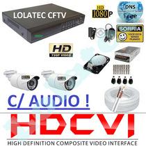 Kit 2 Cameras Hdcvi 720p Infra Dvr 4 Canais Plat. Intelbras