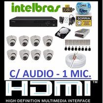 Kit Cftv Intelbras 8 Cameras Infra Dome Sony Dvr 8 Canais Hd
