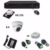 Cftv Kit Completo Intelbras 8 Câm Dome+dvr 8ch+cabos+fonte+