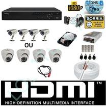 Kit Cftv 4 Cameras Infra Sony Dvr 4 Canais Intelbras Hd 1tb