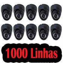 Kit 10 Camera Dome Ccd Infra 24 Leds 800 Linhas + Fonte