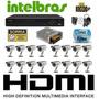 Kit Cftv 16 Cameras Sony Dvr 16 Intelbras 3116 Fonte Bnc P4