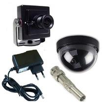 Kit Mini Camera Segurança Dome Ccd Sony + Bnc + Fonte Gratis