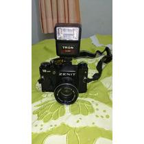 Câmera Zenit 12xp Com Flash Completa Para Colecionador