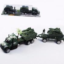 Miniatura Caminhão Bitrem Exército De Brinquedo (6pçs) Frete