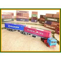 Carretas Bi-trem 6 Eixos + 2 Container Ho 1/87 Hbm Maquete