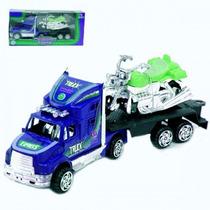 Caminhão Carrinho De Fricção Com Moto Brinquedo Infantil