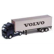 Conjunto Cavalo+carreta Volvo Fh12 Welly 1:32 32631w-preto