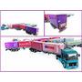 Renault + Carretas Bi-trem 6 Eixos + Containers Ho 1/87 Hbm