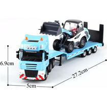 Caminhão Prancha Com Pá Carregadeira 1/50 Trator Kaidiwei