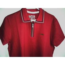 Camisa Polo Masculina Vinho Marca Famosa M.officer Tm P