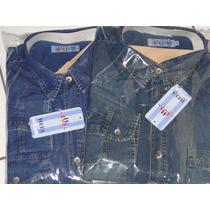 Camisas Jeans Manga Longa Masculinas Tam P M G Gg