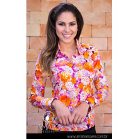 Camisa Estampada Floral Pink E Laranja - 1009