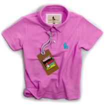 Camisa Polo Infantil, Qualidade Importada Original Chiclete